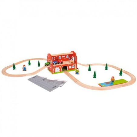 Bigjigs Railway Station Carry Train Set (40 delig) treinset met station